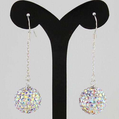 Sparkle Tchèque Cristal Rond Boule Disco 925 sterling silver Hook Dangle Earrings