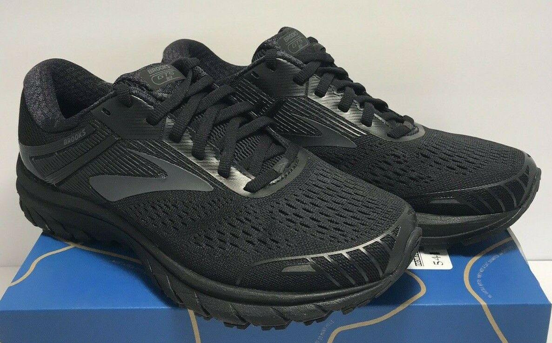 Brooks Mens tamaño 8 amplia 2E Adrenaline GTS 18 Triple Negro Zapatos tenis de correr