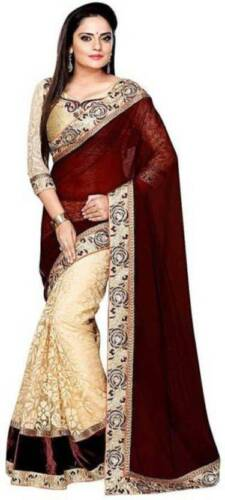 Womens Self Design Embroidered Bollywood Georgette Saree With Blouse Piece