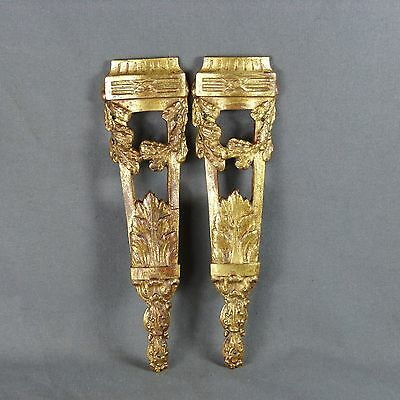 Pair of French Antique Ormolu Plaque Finials Leg Cover Furniture