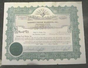 Vintage-1959-Garden-Fresh-Markets-INC-Stock-Certificate-Clarksburg-WV