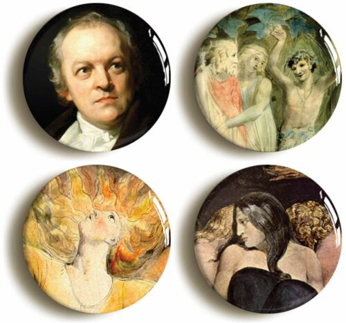 Size is 1inch//25mm diameter ROMANTIC ART WILLIAM BLAKE BADGE BUTTON PIN SET