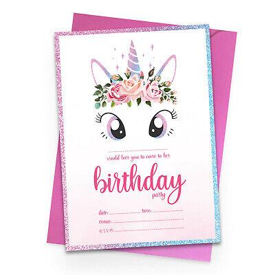 Unicorn Birthday Party Invitations Invites 10x Pack Girl Children Kids Pack