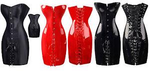 RBM-Sexy-Corset-Dress-Satin-or-Wetlook-Dominatrix-Steampunk-sizes-4-6-8-10-12