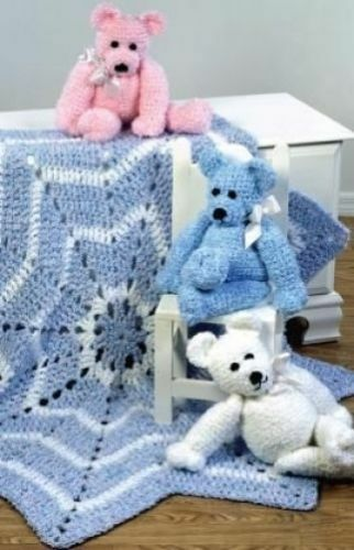 Crochet Pattern-A Stella Super Pesante Baby coperta e Teddy Bear