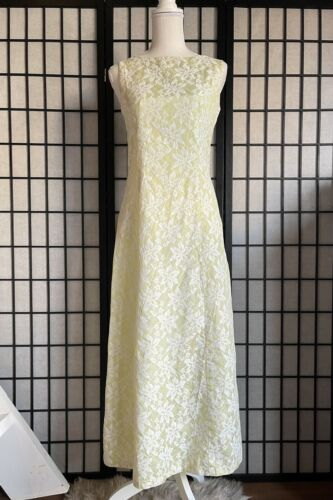 Vintage 60s Dress Maxi Lace Green Chartreuse Sleev