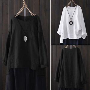Mode-Femme-Coton-Manches-longues-Couleur-Unie-Tops-Hauts-Chemises-T-shirts-Plus