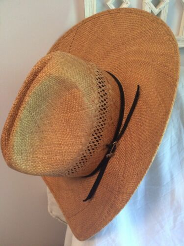 40c52da724123 1 of 12Only 1 available John B Stetson Cowboy Straw Vented Hat Rincon Small  Western 10x Pin XS Natural