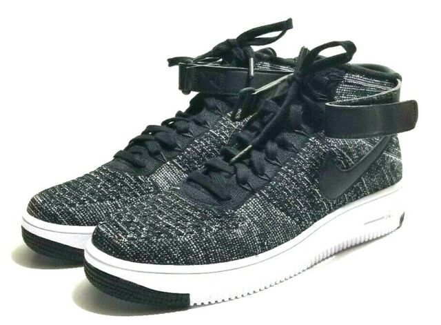 fa735df76bcc Nike Air Force 1 AF1 Oreo Ultra Flyknit Mid Black White 817420-004 size 10