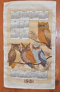1981 Vintage Linen Calendar Kitchen Tea Towel Owls Retro