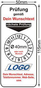 120 Prüfplaketten - Grundplaketten mit Wunschtext, Logo