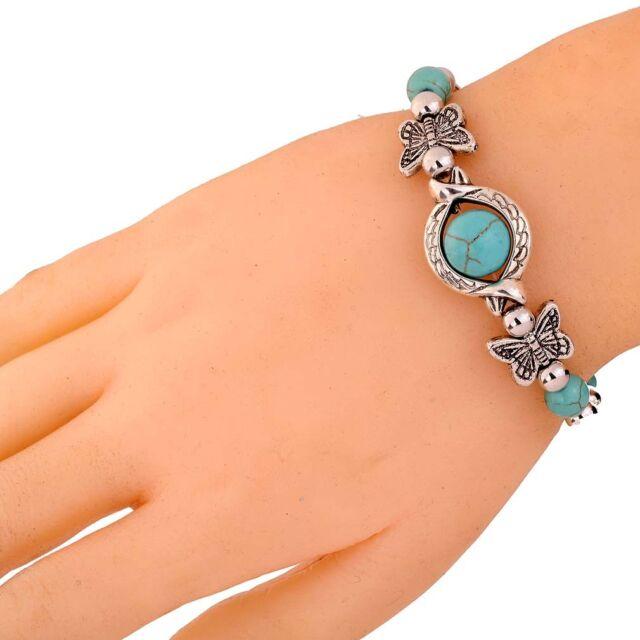Exquisite Handmade Butterfly Eye Tibetan Silver Turquoise Beads Bracelet bangle