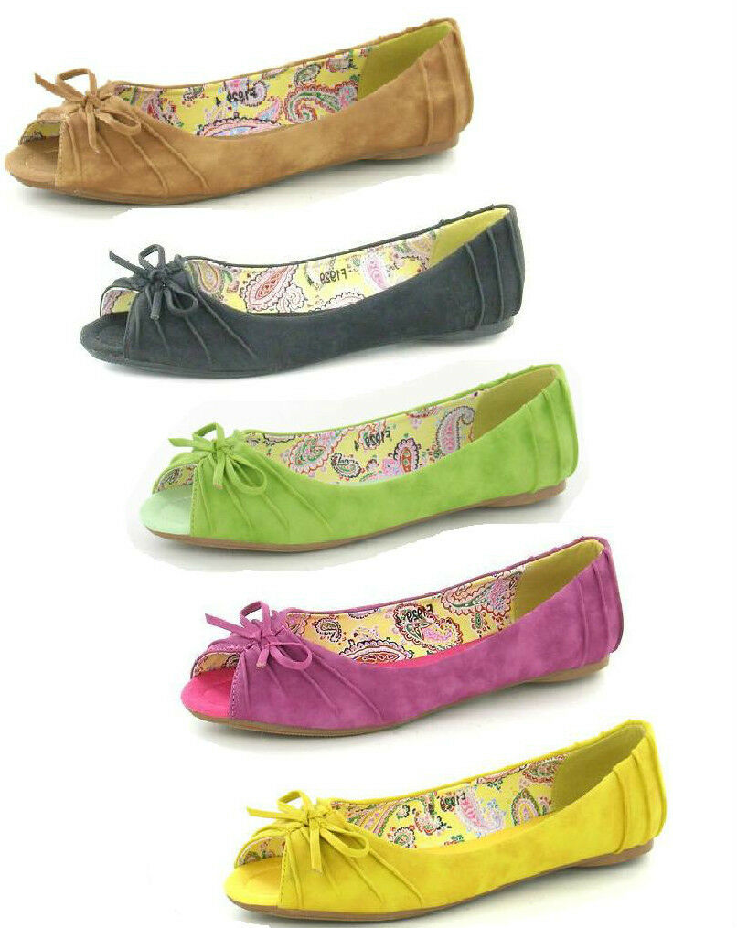 LADIES SPOT ON FLAT SHOES PEEP TOE CASUAL SUMMER SHOES FLAT WITH BOW F1929 5 COLOURS ddd3df
