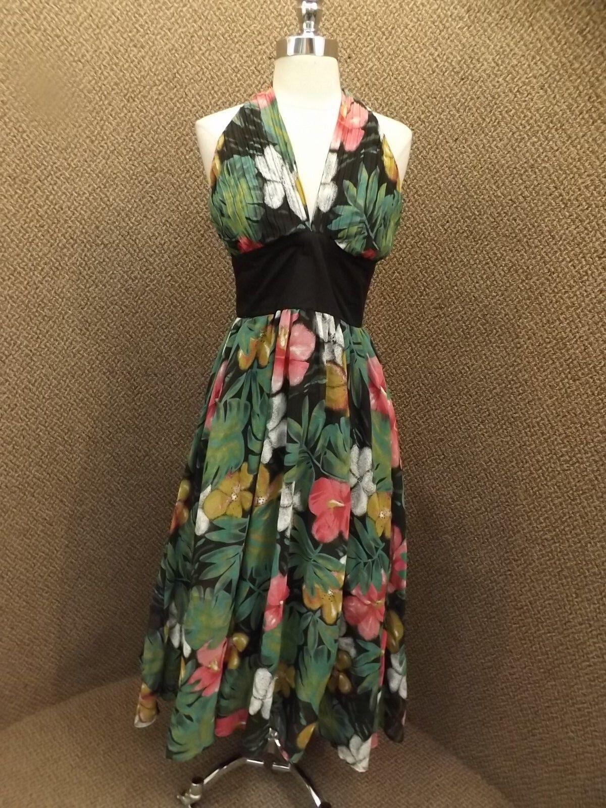 Effortless Vtg Tropical Floral Accordian Pleat Halter Layerot Skirt Long Dress