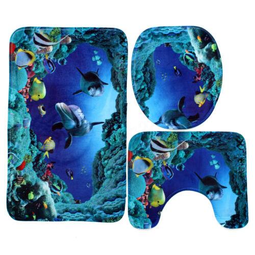 US Waterproof 1.8M Ocean Dolphin Sea Bathroom Shower Curtain Toilet Rug Mat