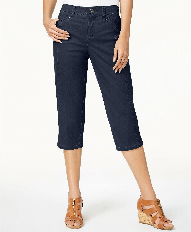 Style Co Petite Slit-Hem Capri Pants -  Industrial bluee - 8 Petite