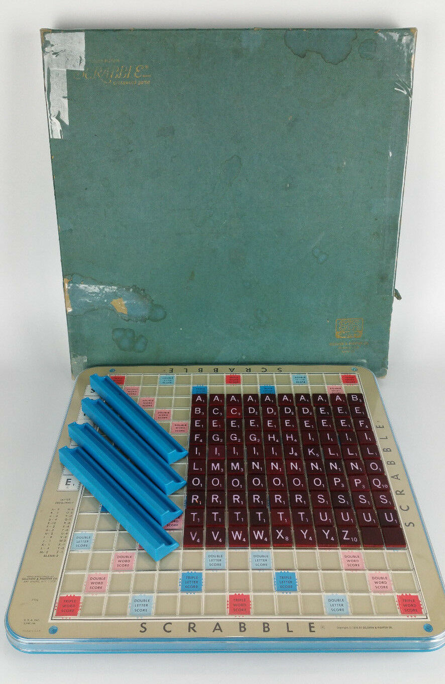 Vintage Scrabble Game Deluxe Edition Turntable Spinning Maroon Tiles bluee Holder
