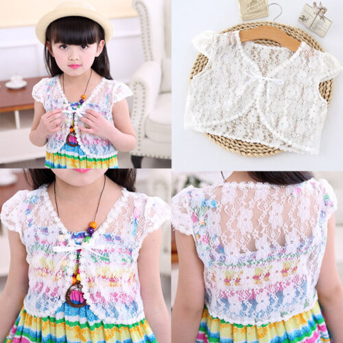 Children Kid Summer Short Coat Girl Casual Party Outerwear Lace Shawl Top Blouse