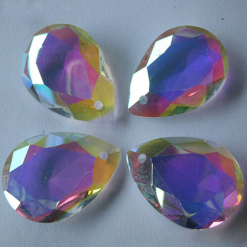 Plating AB Color Faceted Glass Teardrop Focal Loose Bead Pendant Charms Jewelry