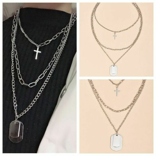 Details about  /Fashion Multilayer Silver Chain Choker Cross Pendant Necklace Women Jewelry 2020