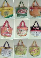 RECYCLED Rice Sack Bag Shopping Small Tote Handmade Nepal Fairtrade