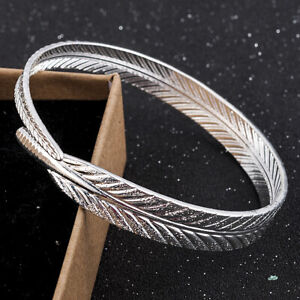 Women-Charm-Jewelry-Silver-Plated-Open-Angel-Feather-Bangle-Bracelet-Cuff-Gift