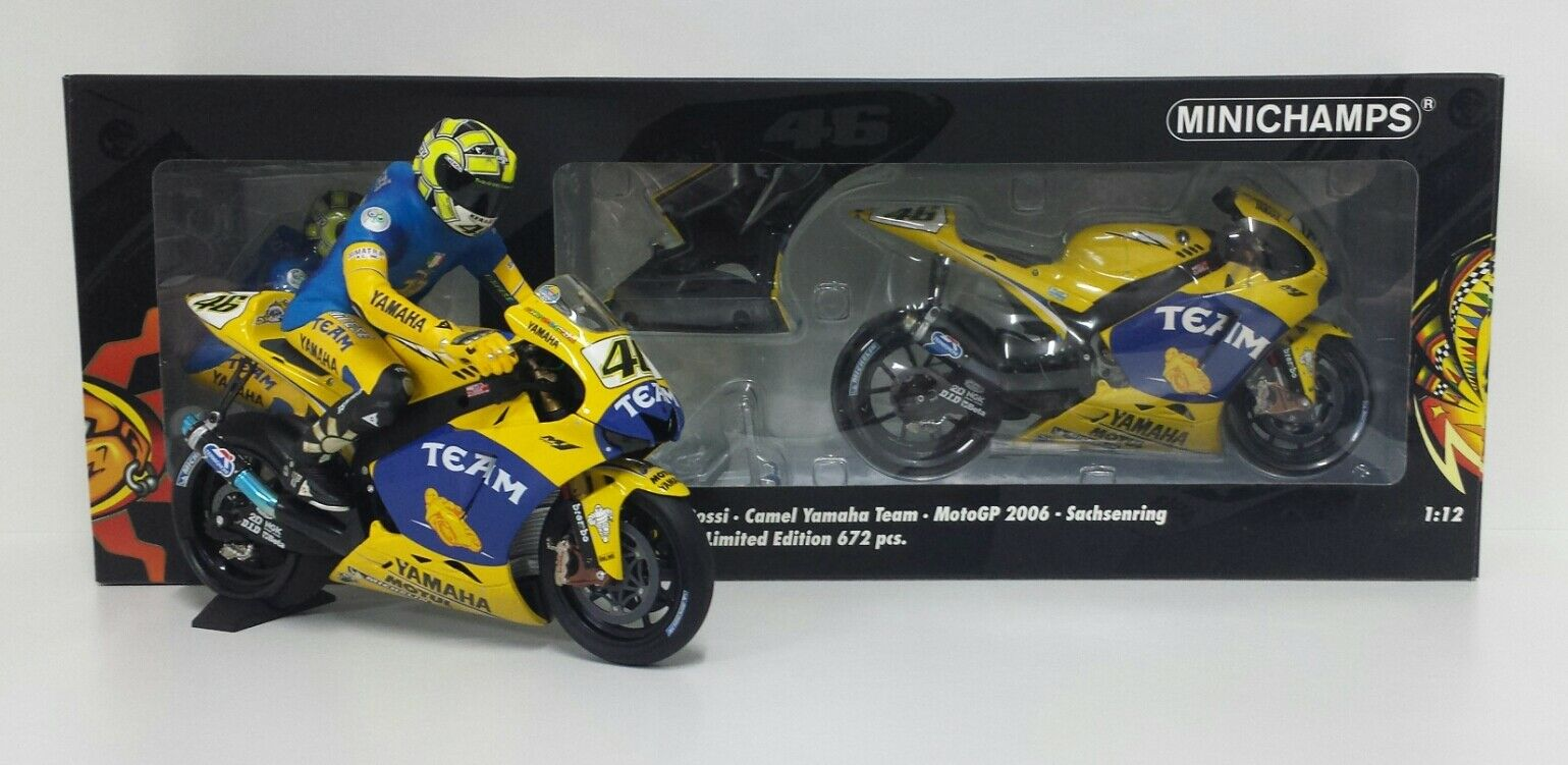 MINICHAMPS VALENTINO ROSSI 1 12 SET YAMAHA MOTOGP SACHSENRING 2006 DIRTY VERSION