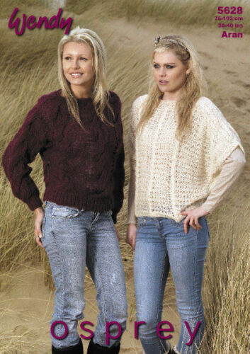 """Wendy Knitting Pattern 5628 Cable /& Lacy Batwing Sweaters Aran 30-40/"""" Ladies NEW"""