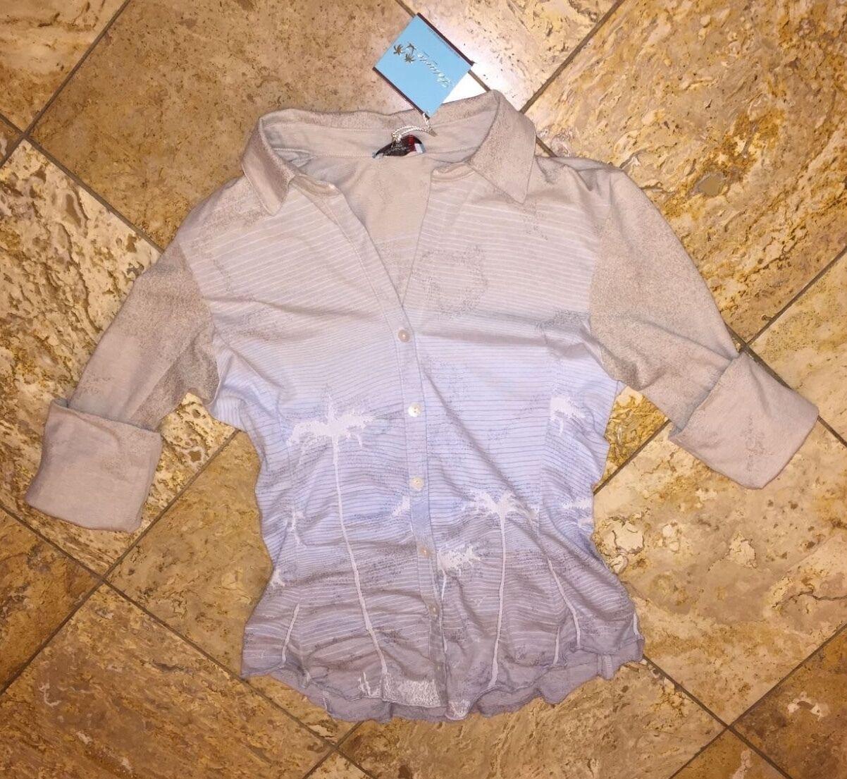 NWT  250 Letarte Ombre Hawaiian Palm Beach Shirt Cover-up Swimsuit Top Women's M