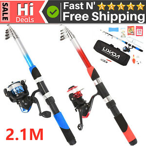Telescopic Fishing Rod Reel Combo Full Kit Spinning Reel Pole +Stroage Bag USA