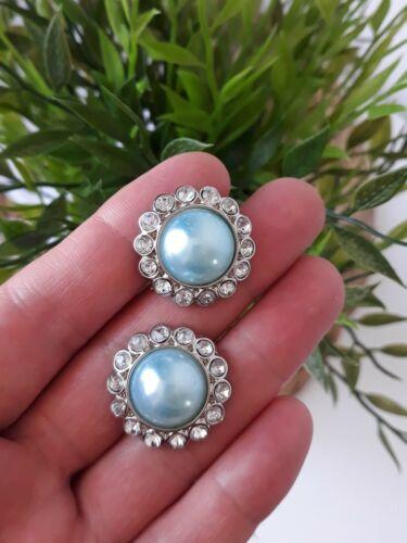 Conjunto de 2 Azul heladas Perla y Botones de Diamante de Imitación Acrílico Artesanía grande de 30mm Hágalo usted mismo