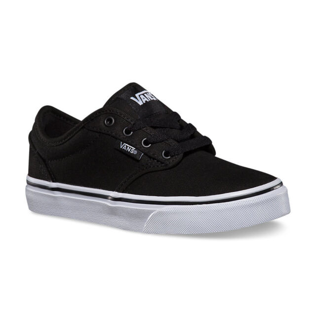 62177206b4e VANS Atwood Canvas Black White Shoes Casual Boys Kids Sizes SNEAKERS ...