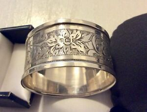 Lovely-Quality-Early-Vintage-Fully-Hallmarked-Solid-Silver-Napkin-Ring-Serviette