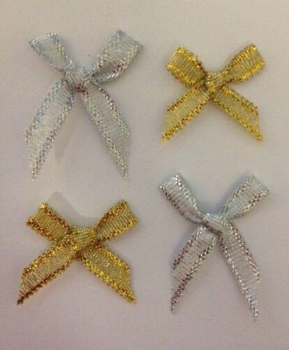 25 Gold Silver Glittered Ribbon Bows Christmas Card Making Craft Embellishments