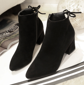 Women-039-s-Autumn-Winter-Short-Boot-High-Heel-Shoes-Warm-Martin-Boots-Plus-Size