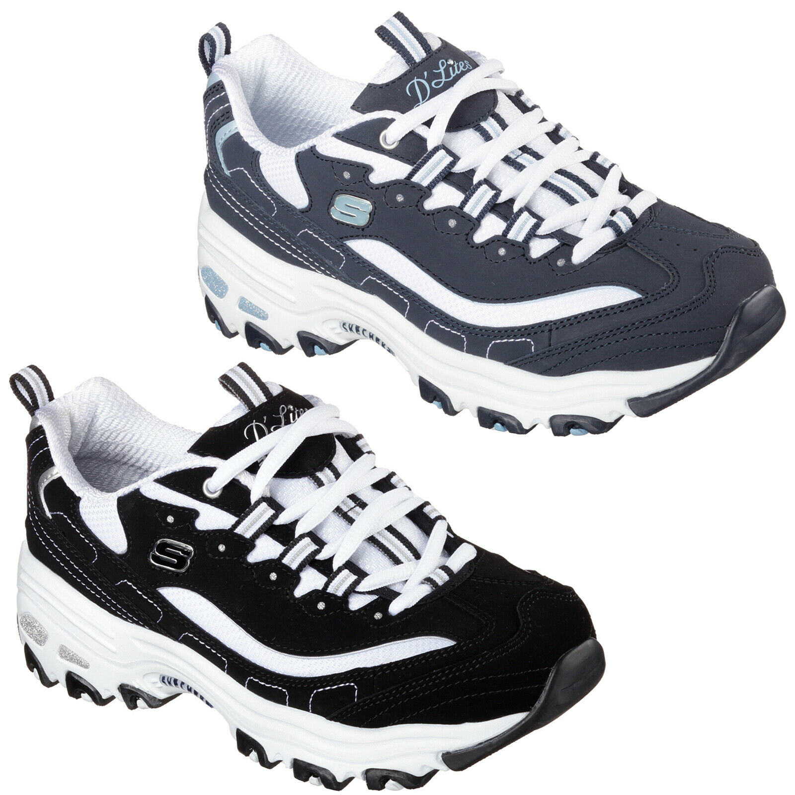 Skechers d'lites - Ventilador de mayor entrenadores 11930 de Mujer Estilo Retro Grueso Zapatos De Moda