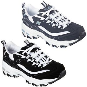 Details about Skechers D'Lites Biggest Fan Trainers 11930 Womens Retro Chunky Fashion Shoes