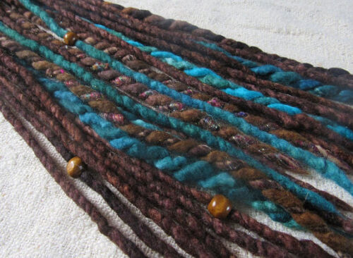 Sea Ended Accent Dreadlocks BrownBlue Pack Dreads Wool Skinny Felted Double DEIWH92