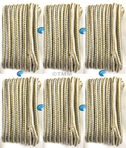 """Gold//White Double Braided 3//8/"""" x 25/' ft Boat Marine DOCK LINES Mooring Rope 6"""