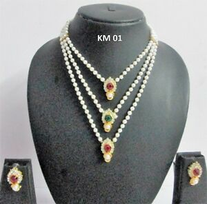 Indian-Fashion-Jewelry-Traditional-Pearl-CZ-Crystal-Necklace-Earrings-Sets-KM-01