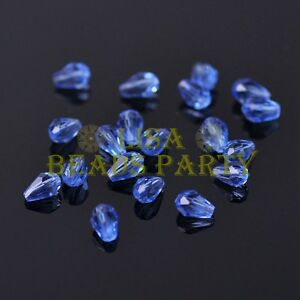 New-100pcs-5X3mm-Teardrop-Crystal-Glass-Faceted-Spacer-Loose-Beads-Light-Blue