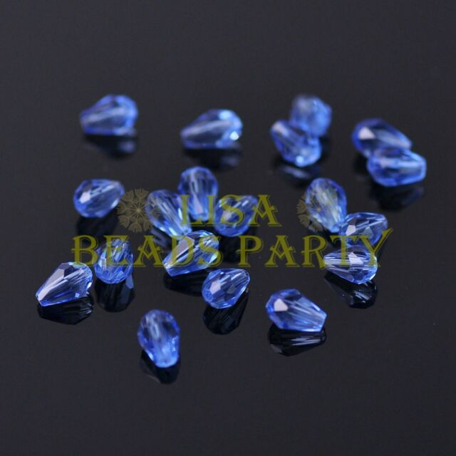 New 100pcs 5X3mm Teardrop Crystal Glass Faceted Spacer Loose Beads Light Blue