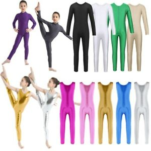 US-Girls-Gymnastics-Leotard-Full-Unitard-One-Piece-Dancewear-Jumpsuit-Catsuit