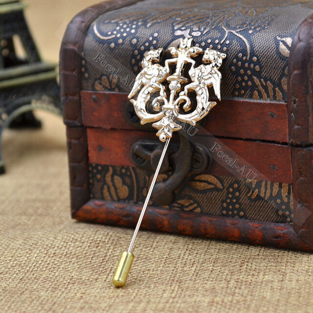 Men's Lapel Stick Pin Gold Lion Crown Tie Hat Scarf Brooch Badge 1PC Fashion New