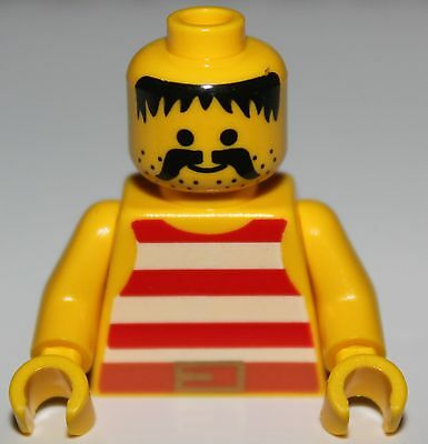 Lego Pirate White Minifig Torso Green Stripes Brown Belt Yellow Arms NEW