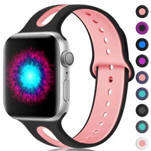 Fuer-Apple-Watch-Series-5-4-3-2-Silikon-Armband-Ersatz-iWatch-40-44-38-42mm-Band