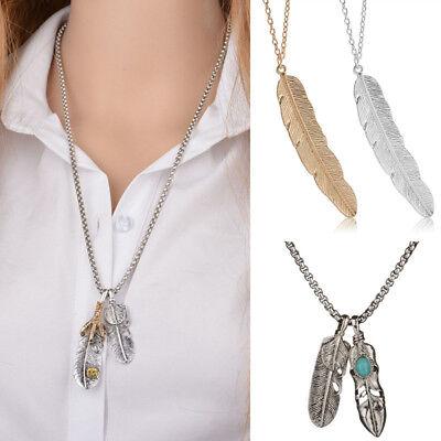 Vintage Schmuck Herren Damen Halskette mit Feder Türkis Anhänger Kette Collier   eBay