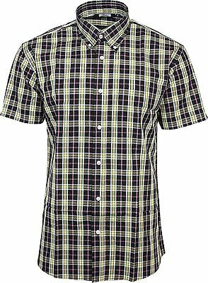 Relco Mens Navy Yellow Check Short Sleeved Shirt Mod Skin Retro Indie 60s 70s