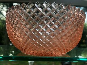 VTG-Hocking-Miss-America-Pink-Depression-Glass-Straight-Sided-Large-Fruit-Bowl