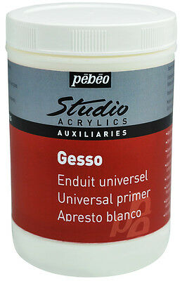 Pebeo Studio Acrylic Gesso Primer WHITE - Size 250ml, 500ml or 1 Litre Available